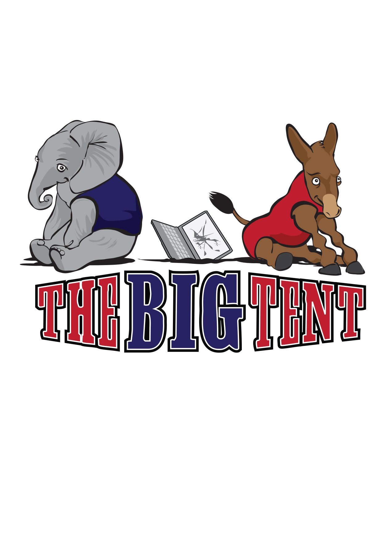 """cartoon of elephant and donkey representing political parties with title """"The Big Tent"""""""