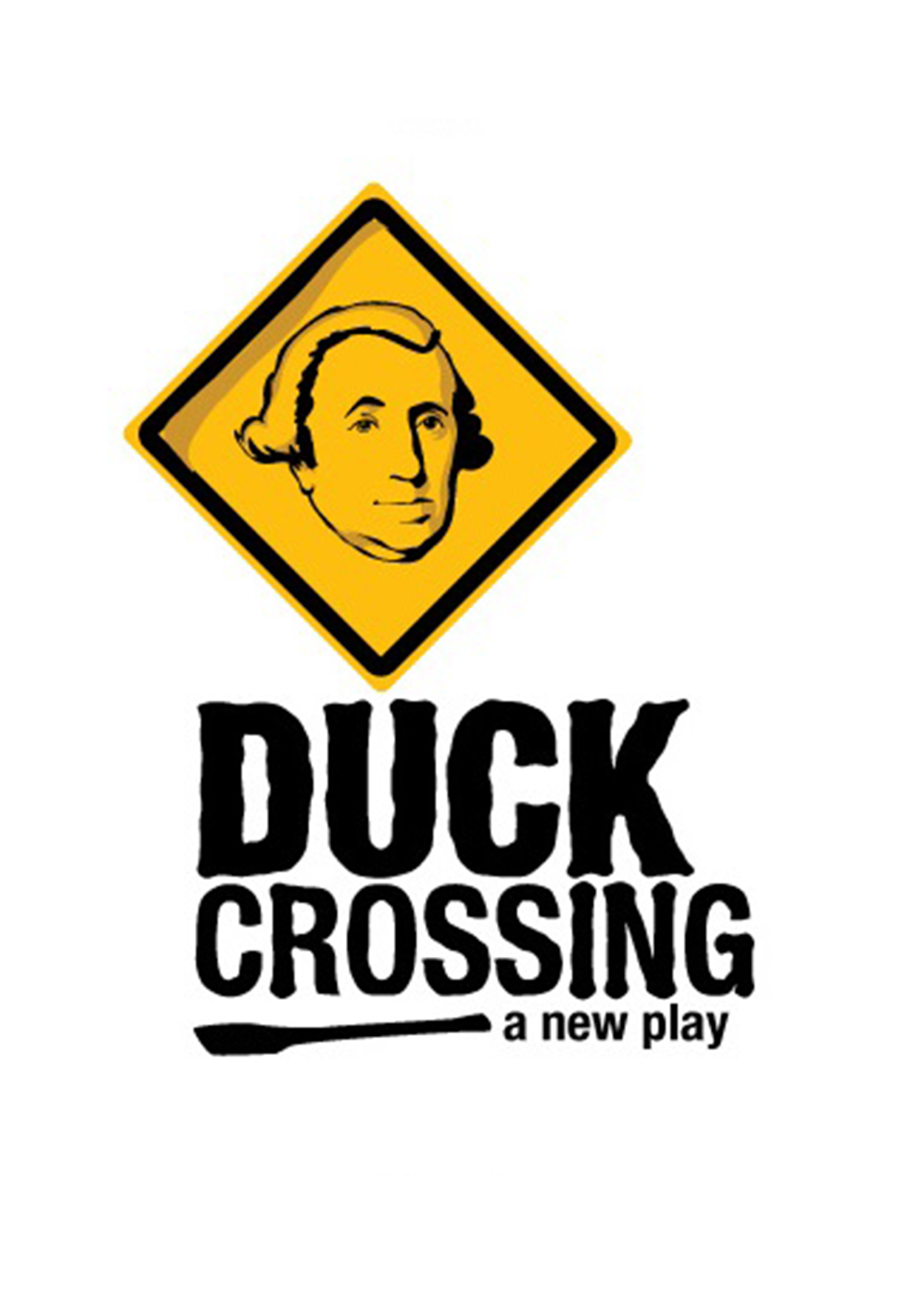 "face of George Washington on a yellow crossing sign with title ""Duck Crossing"""