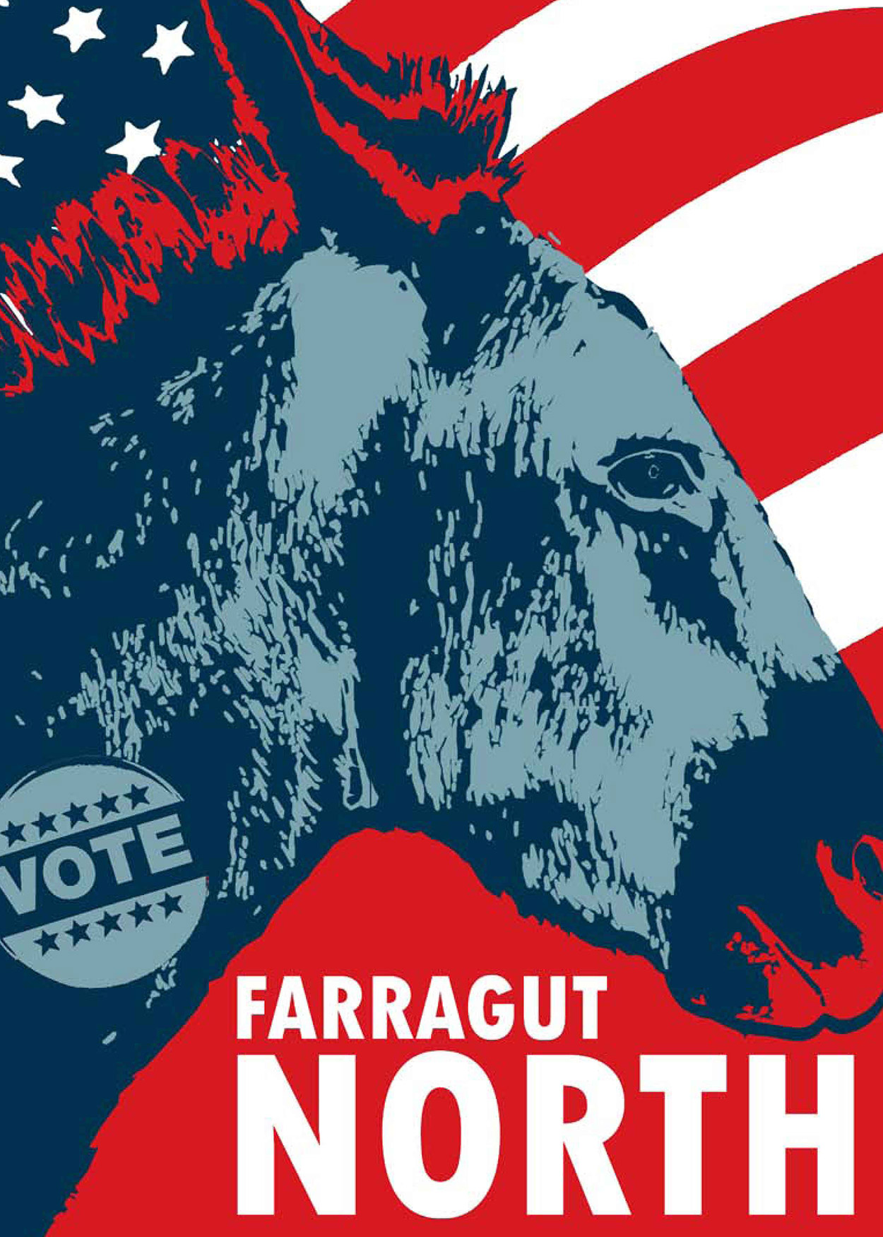 Artwork of a Donkey Head with an American flag background Title: Farragut North