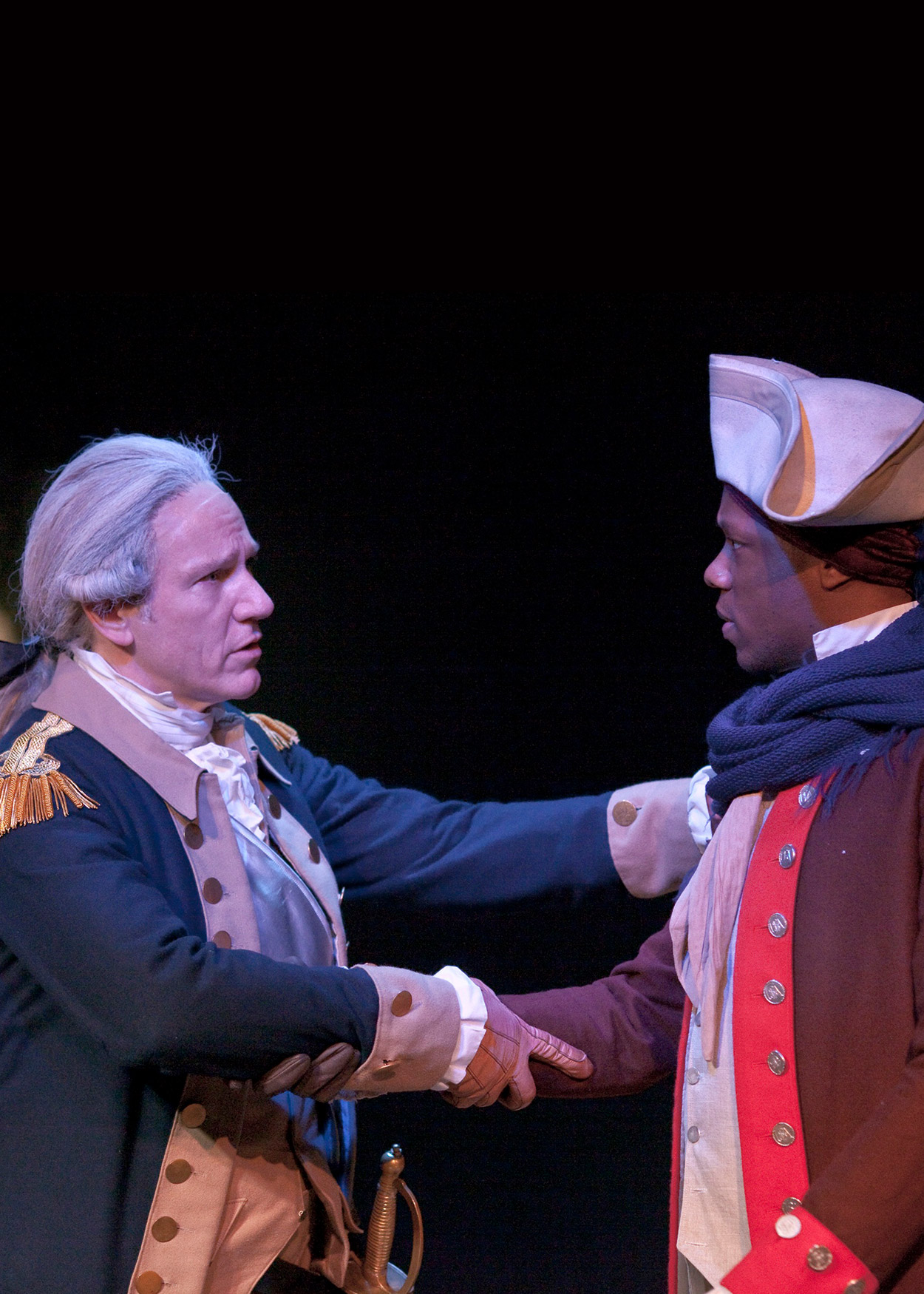 George Washington shakes the hand of another man