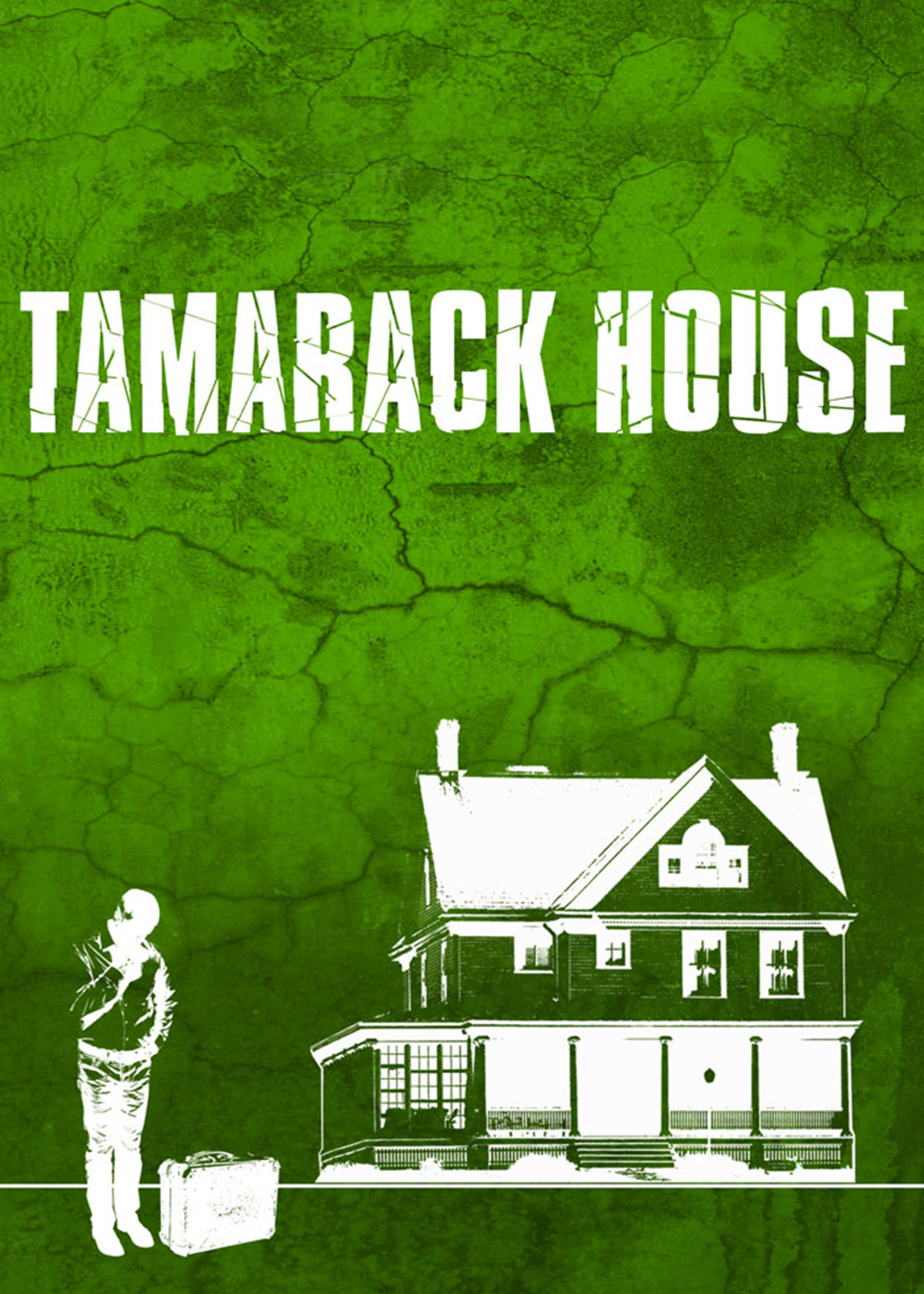 """Artwork: Man with suitcase and large house against green background Title: """"Tamarack House"""""""