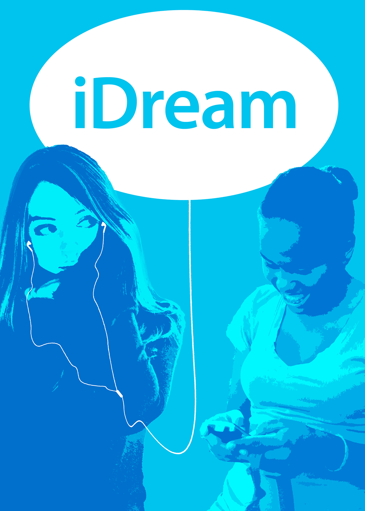 Artwork: two girls playing with their phones and listening to music. Title: iDream