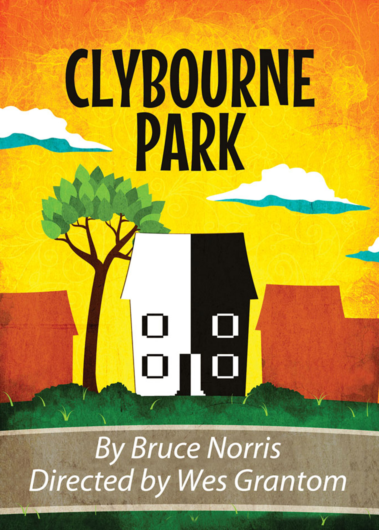 Key Art from Clybourne Park (2013). At the center a house is split in half with one side black and the other side white. Other houses, in a muted red color, surround the house.