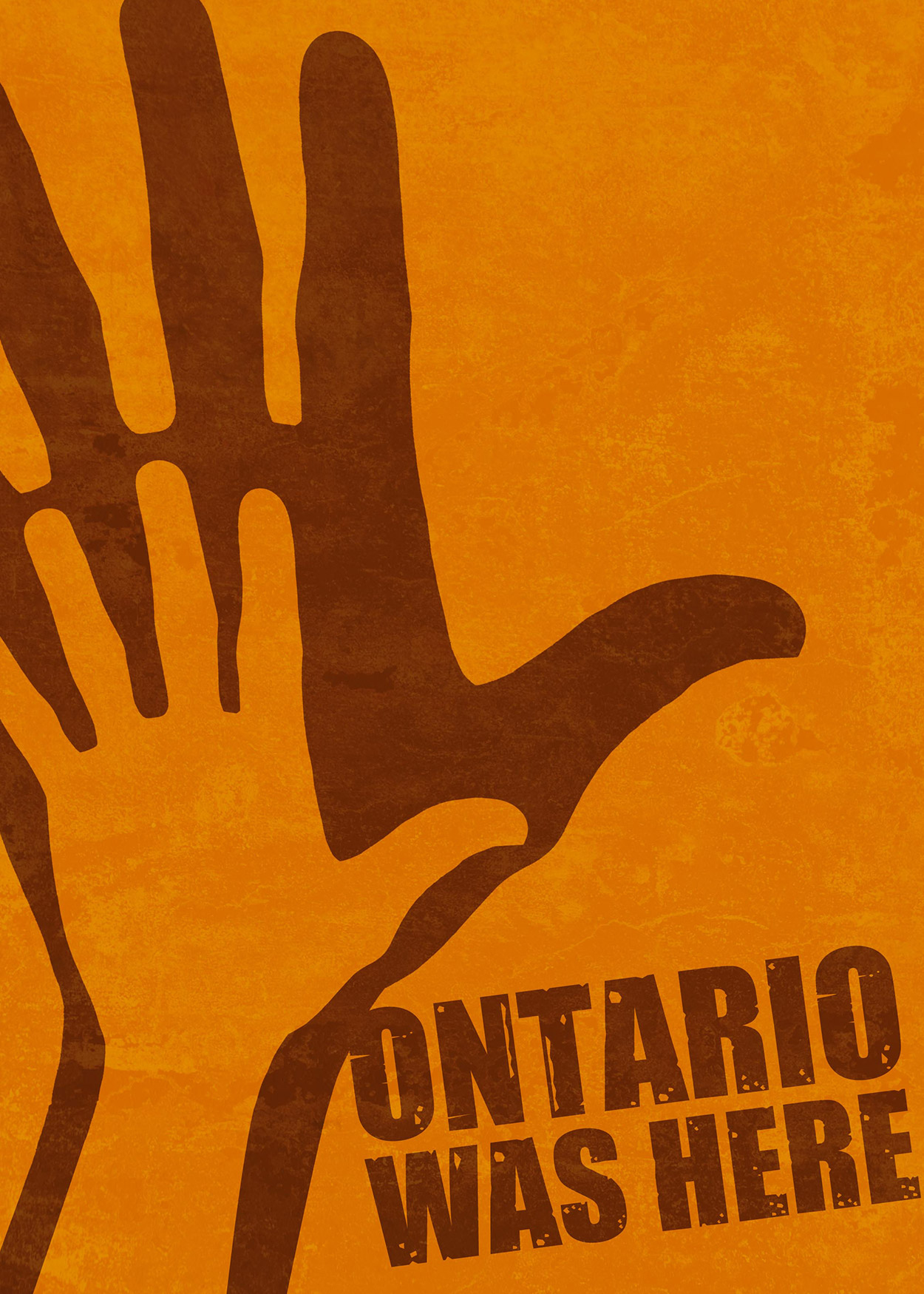 Key Art from Ontario Was Here (2013). A drawn hand at the forefront of the image creates a shadow on an orange wall.