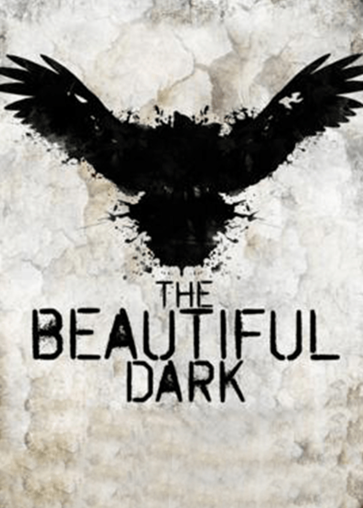Key Art from The Beautiful Dark (2013). An inkblot image that ressembles a large black bird is at the center of the artwork.