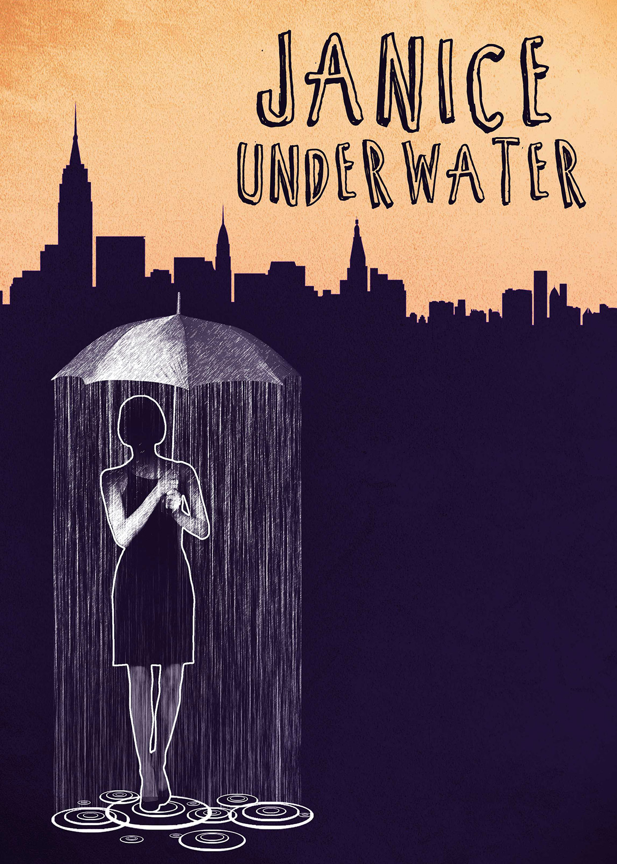 Key Art from Janice Underwater (2014). A silouhette of the New York City skyline is at the background. At the forefront, an outline of a woman is holding an umbrella. It is raining only around her.