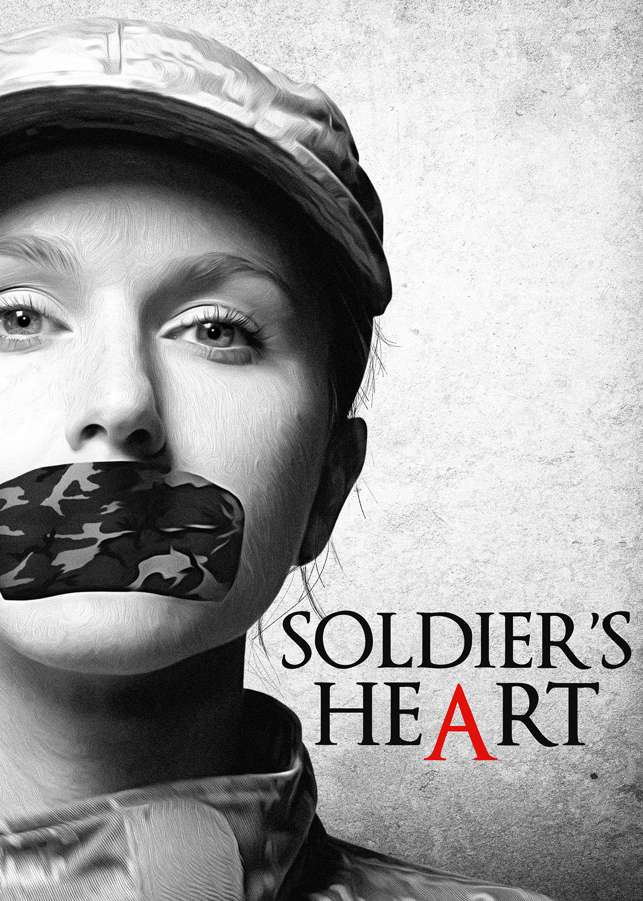 Key Art from Soldier's Heart (2014). A black & white close-up photo of a woman's face. She is wearing an Army unform cap. There is a camoflauge-print sticker over her mouth.