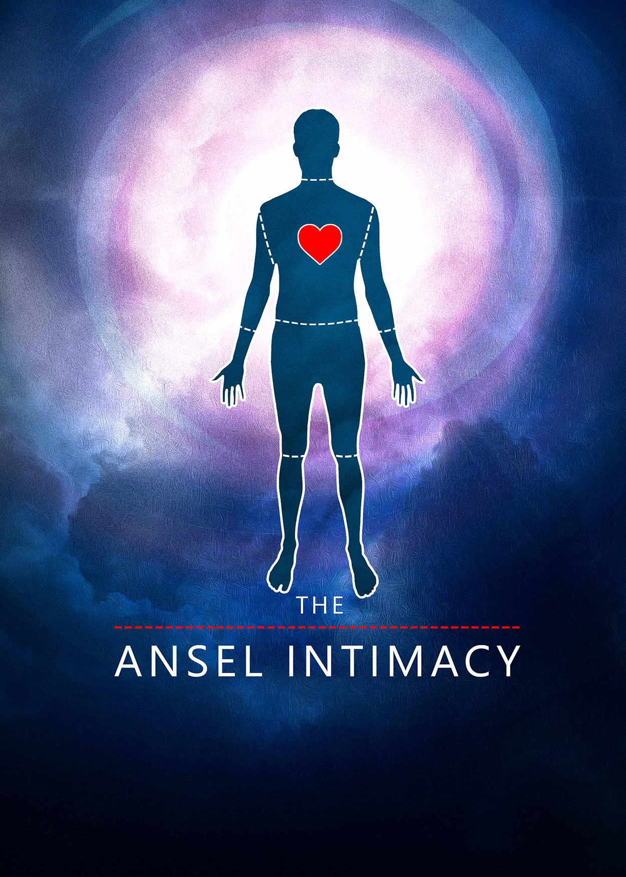 Key Art from The Ansel Intimacy (2014). Dark clouds surround a bright light at the center of the image. An outline of a man is at the center. There are no other details about the man except an enlarged red heart (shape) at the center of his chest.