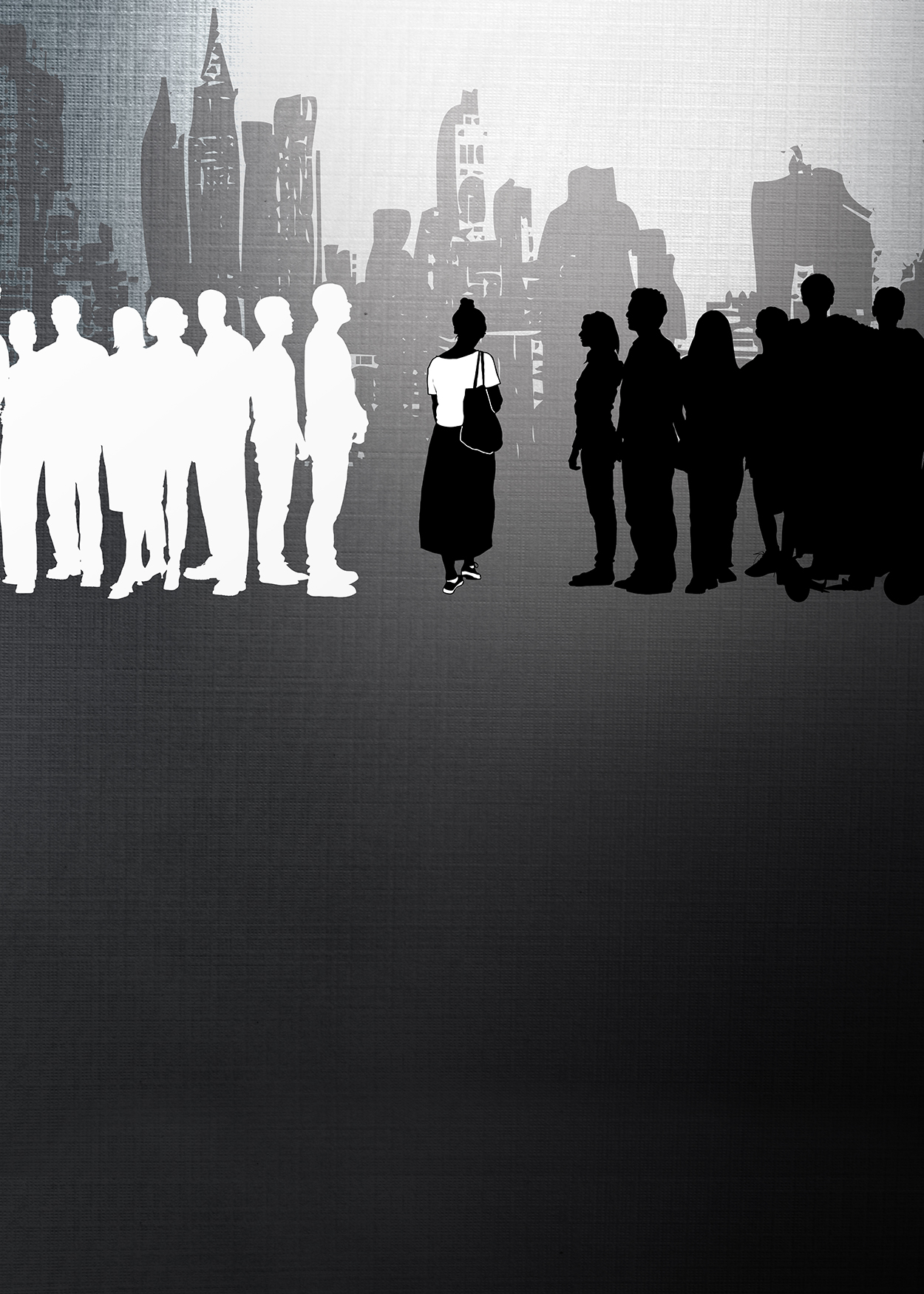 Key Art from Baton (2018). The silhouette of a city is in the background. The silhoutte of a woman, dressed in white and black, stands between two groups of silhoutted people- the group to the left is white, the group to the right is black.