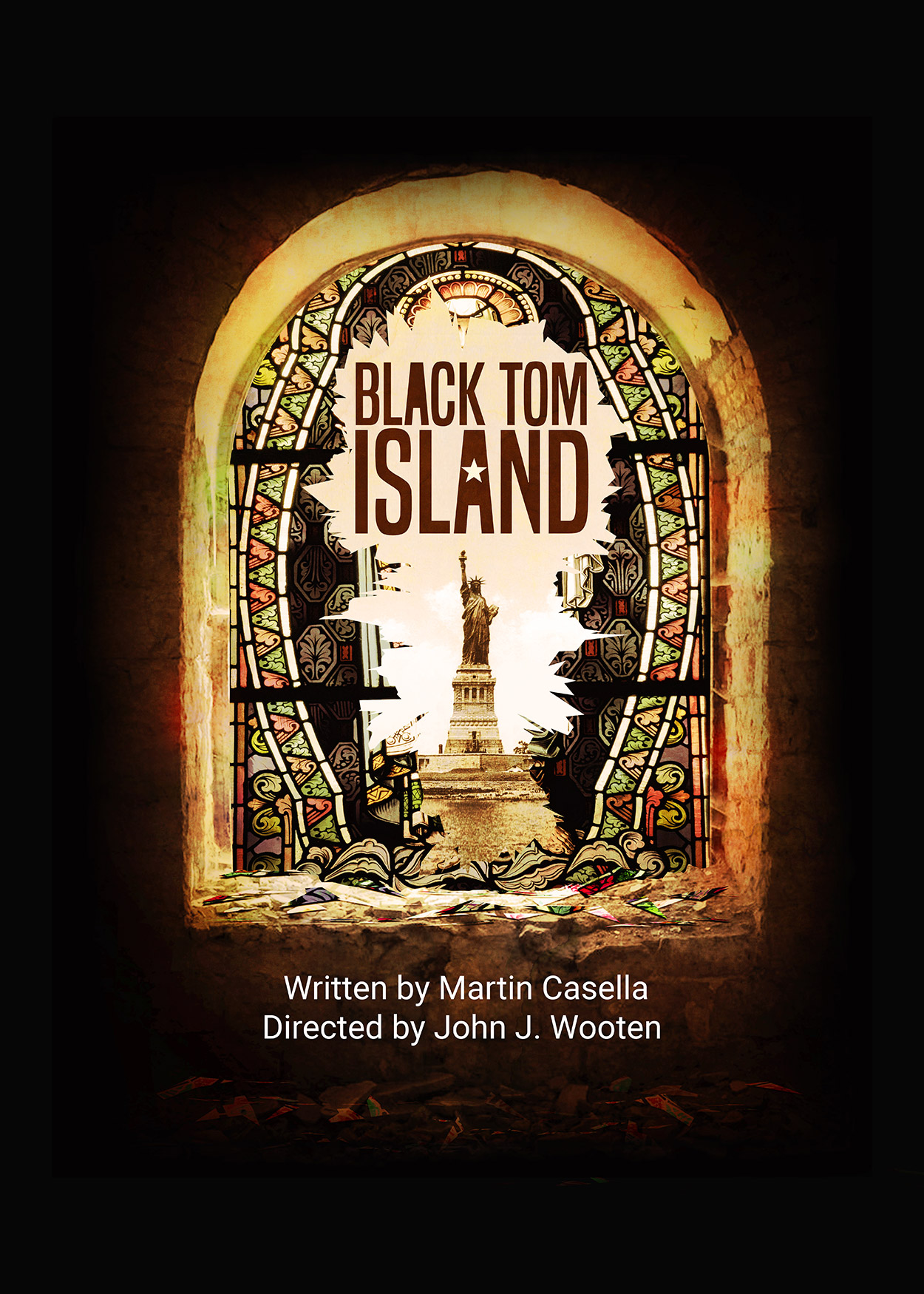 Key Art from Black Tom Island (2018). An image of a shattered stained-glass window. At the center of the image, through the shattered window is the Statue of Liberty.