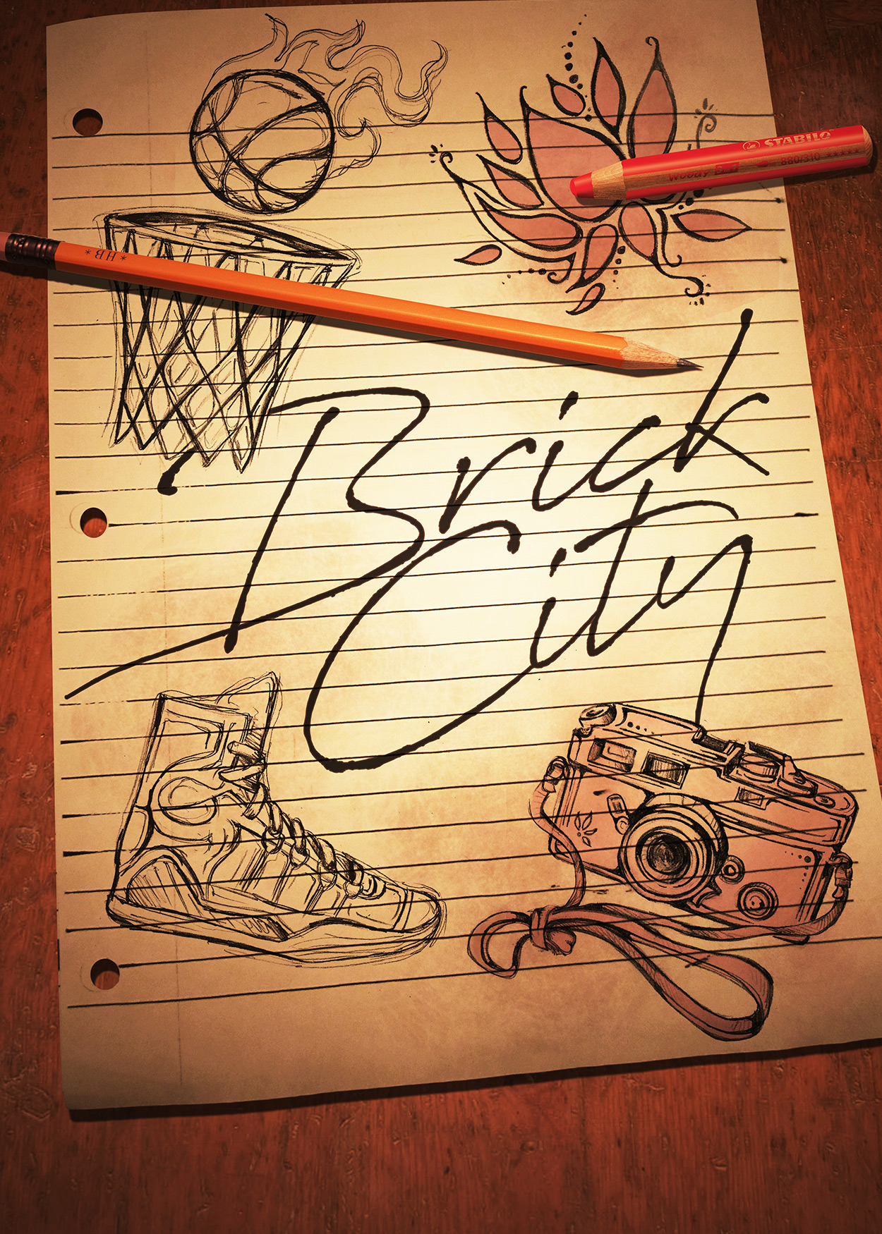 Key Art from Brick City (2018). An image of a sheet of lined notebook paper. Drawn in pencil and color-pencil are image of a basketball gooing into a net, a sneaker, a camera and a flower.
