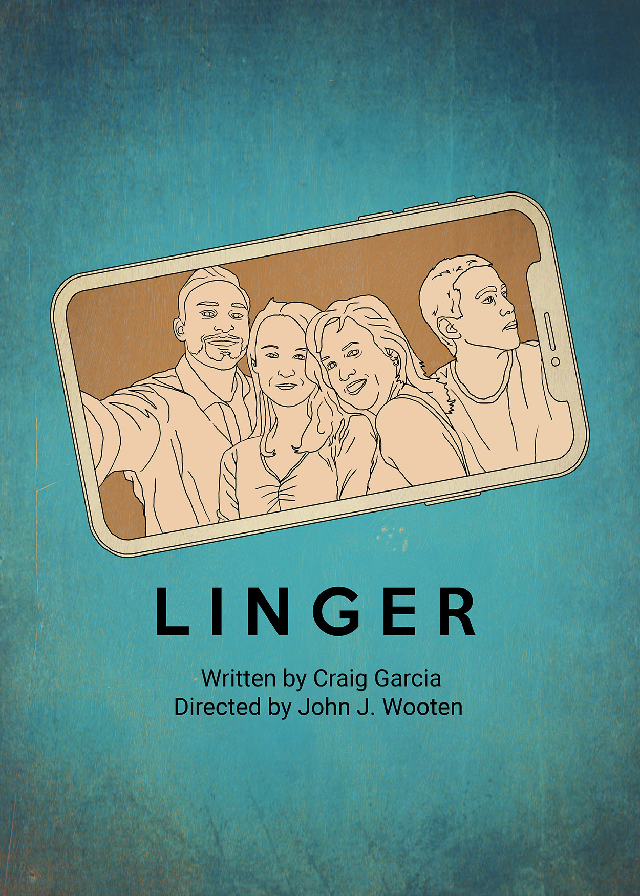 "Key Art from Linger (2018). A drawn image of a family- man, woman, boy and girl- taking a ""selfie"". The image shows the image on the camera. The man, woman and girl are looking at the camera, the boy is looking to his left."