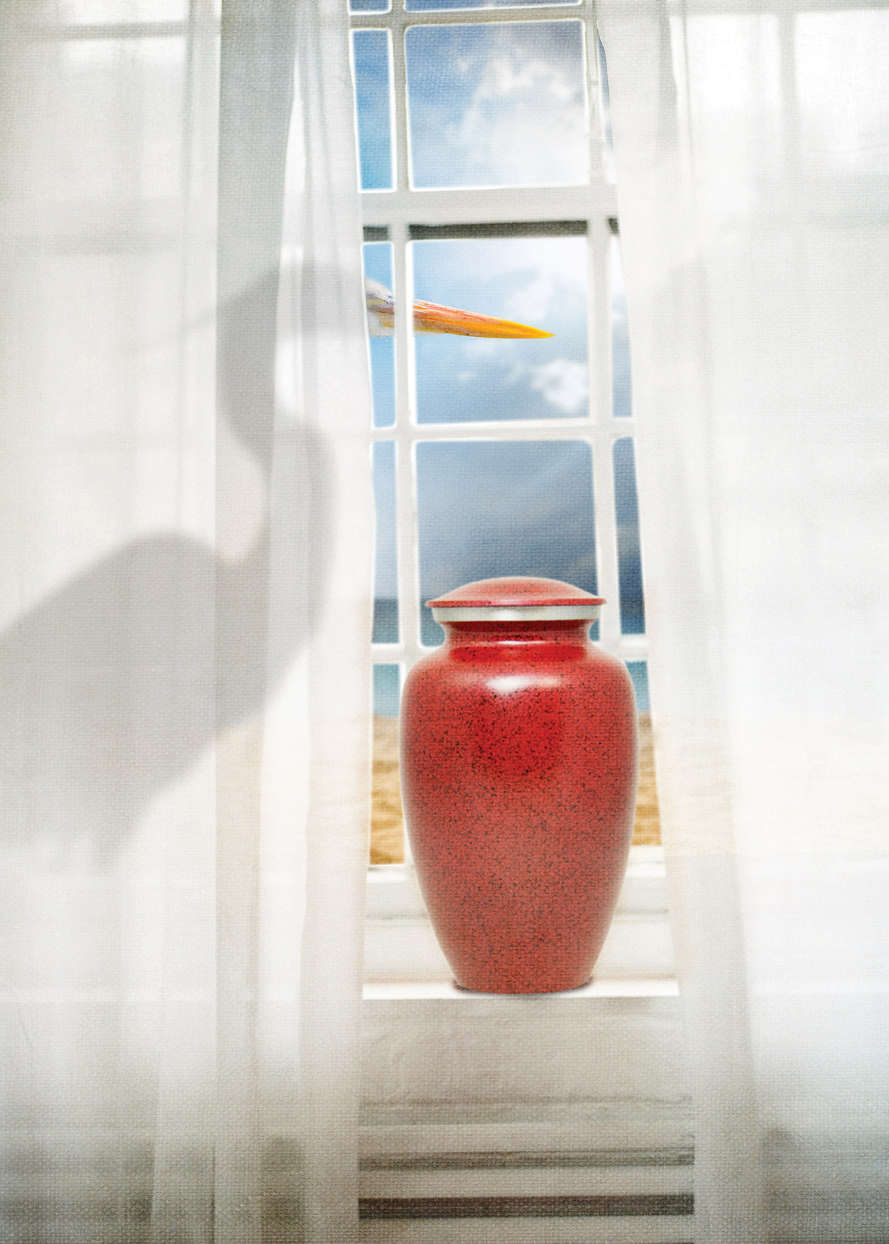 Key Art from The Wake (2019). An image of a large picture window with white sheer curtains. On the window sill is a red urn. Standing behind the curtain is a crane.