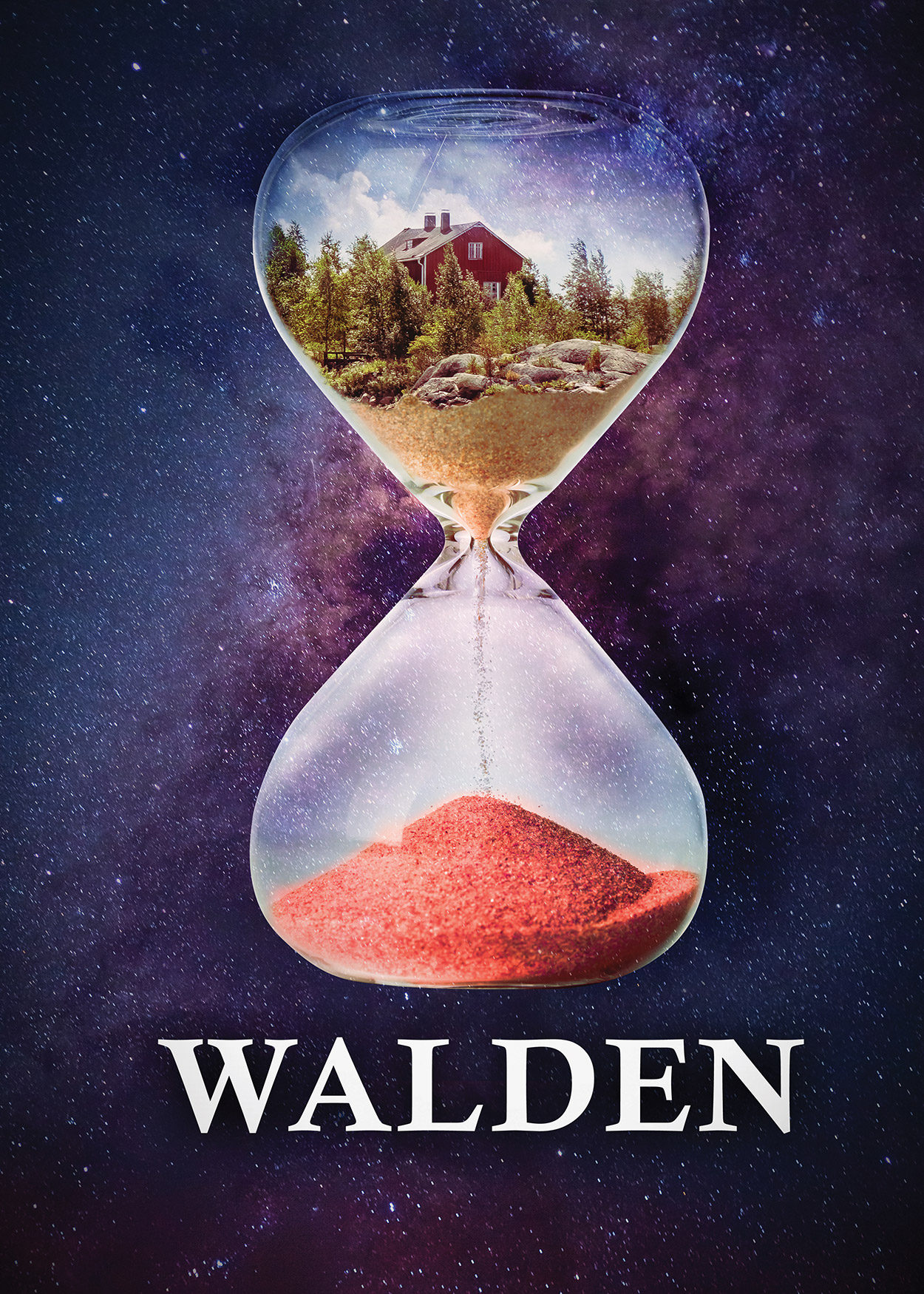 Key Art from Walden (2019). At the forefront of the image is a hourglass. The top bulb has a red house amongst tall trees. There is sand trickling down to the bottom bulb which is filling up with red sand. The hourglass is seemlingly floating through space.