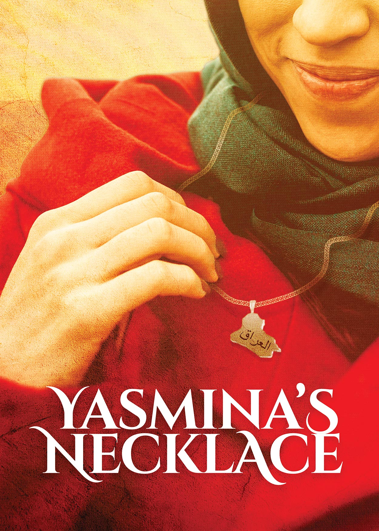 Key Art from Yasmina's Necklace (2019). An image of a woman wearing a gray hijab and red jacket. The image is cut off right above the woman's nose. She is holding a necklace she is wearing. The charm on the necklace is in the shape of Iraq.