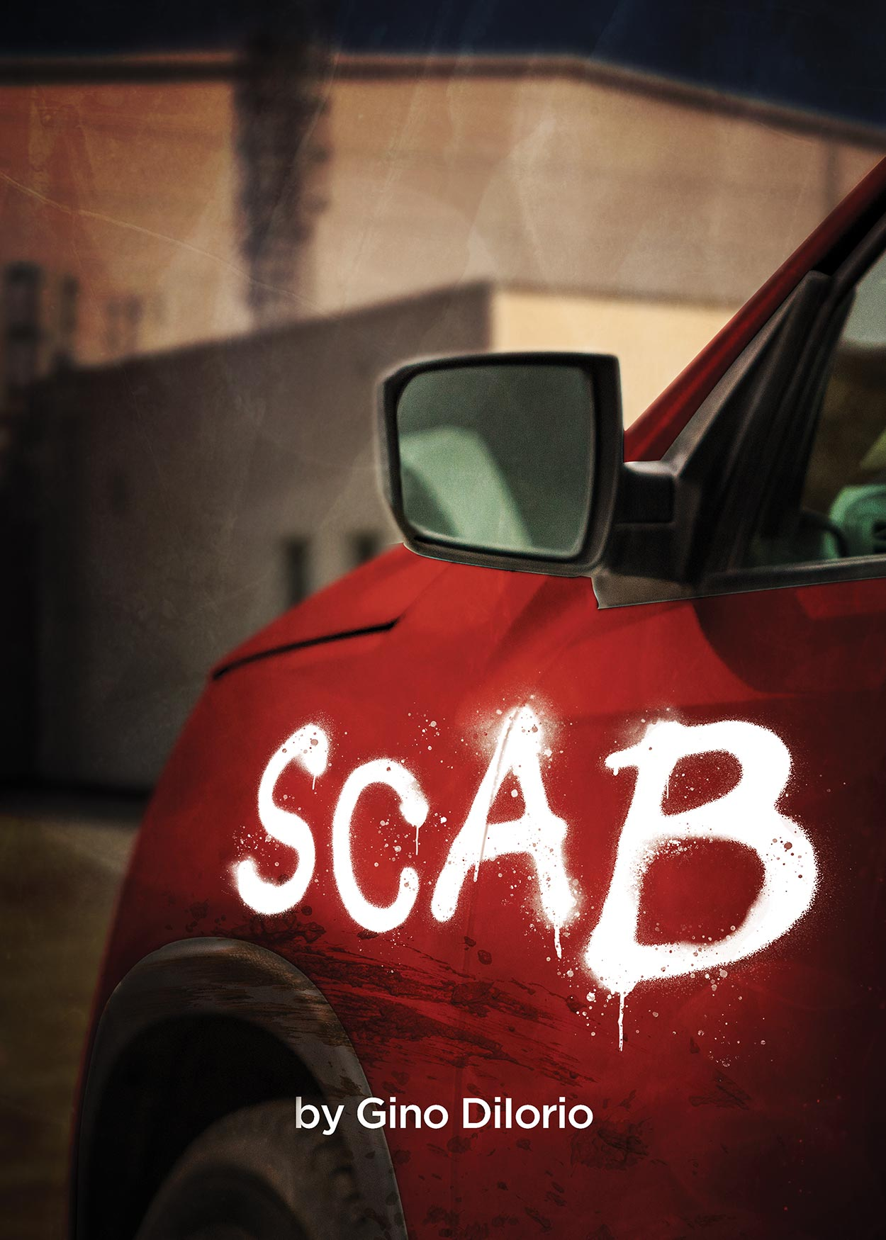 Key Art from Scab by Gino Diiorio (2020). In the forefront of the image is a red car with the word Scab painted on it with white paint. The background is an old brick factory.
