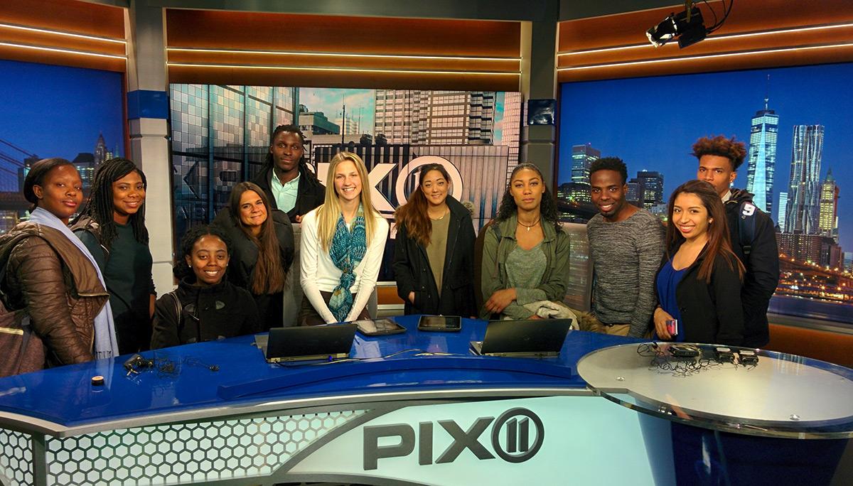 A class of Kean University sudents at Pix 11 TV studios.