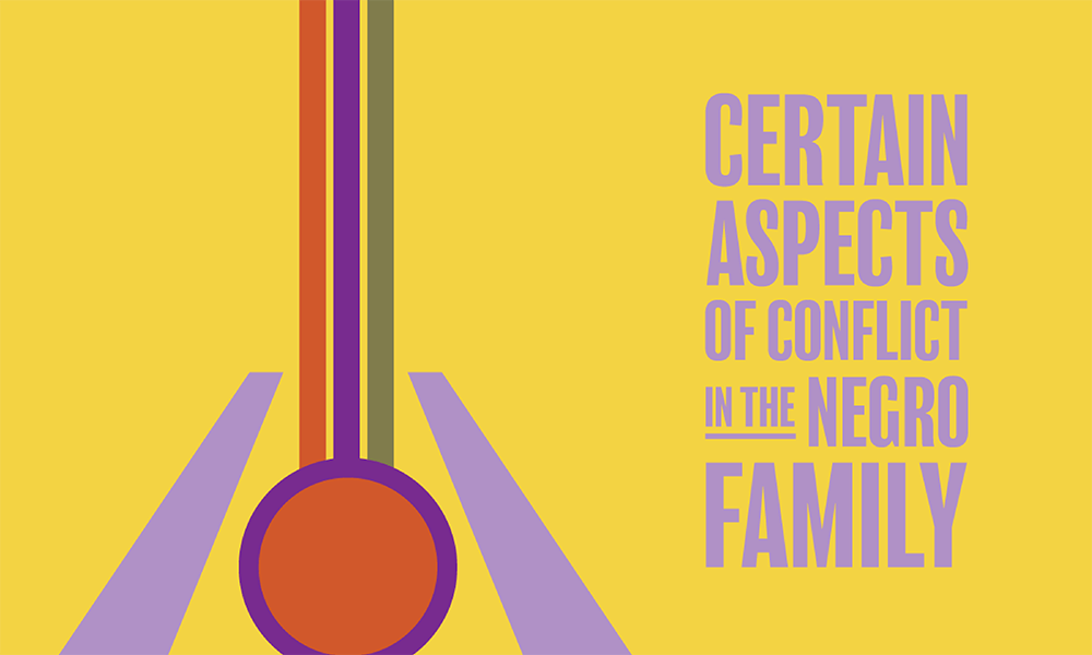 Artwork for Certain Aspects of Conflict in the Negro Family a play by Tylie Shider. The image of a 70s-inspired abstract guitar in shades of orange, purple and green against a yellow background.